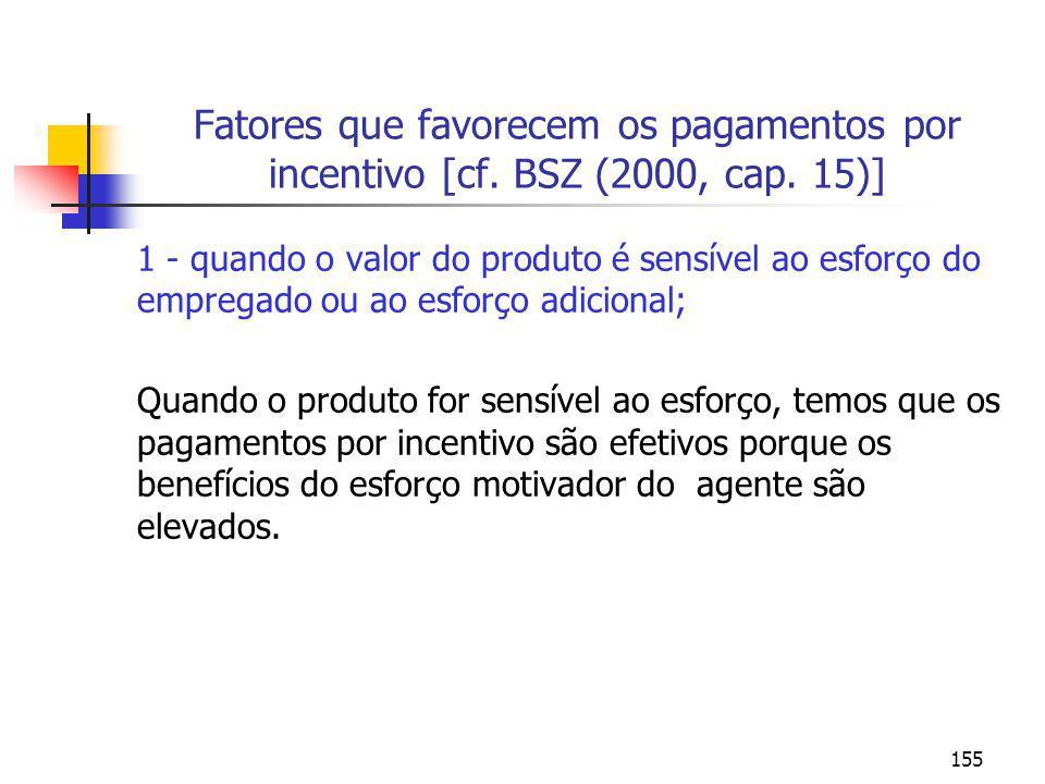 Fatores que favorecem os pagamentos por incentivo [cf. BSZ (2000, cap